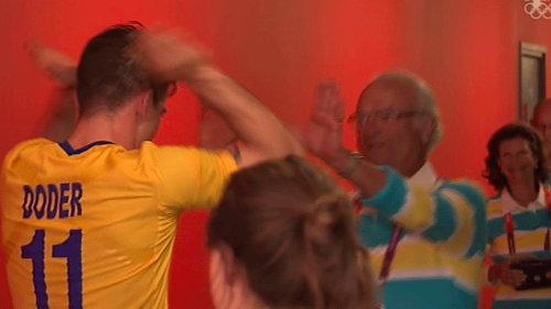 スウェーデン王と女王のオリンピック応援02