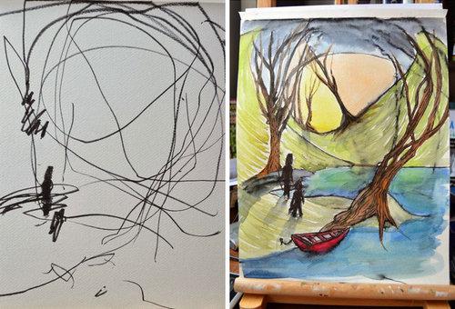 2歳の娘が描いた落書きを母親が水彩画に07