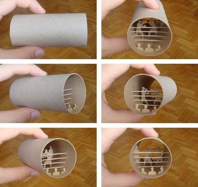 トイレットペーパーの芯の中アート02