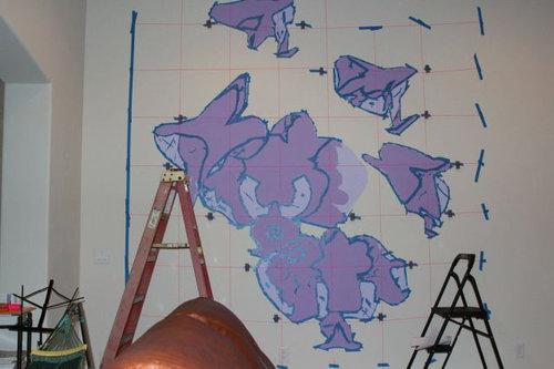 エンジニアが壁に蘭を描いた05