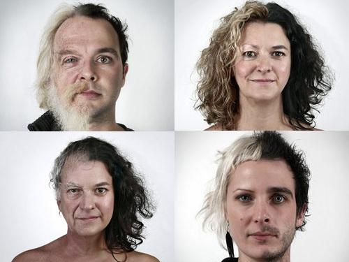 家族の顔を半分ずつ合体00