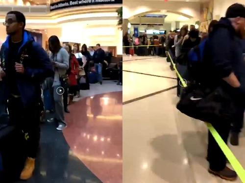 現在のアメリカの空港のセキュリティの列01