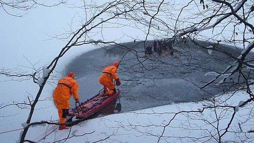湖に落ちた鹿を救助01
