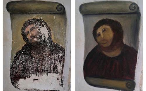 15世紀の聖母子像、しろうとの修復によって残念なことに01