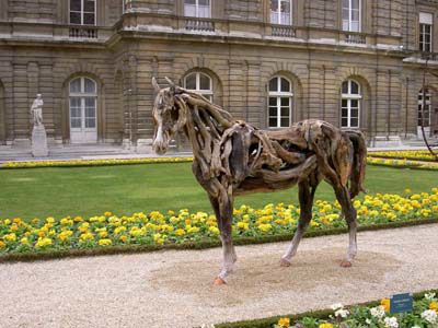 枯れ木で造られた馬のアート08