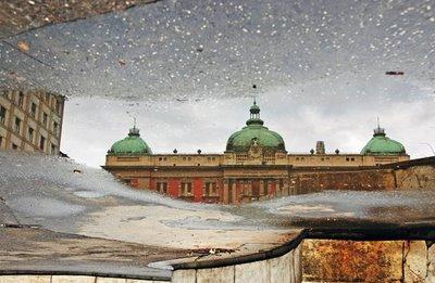 水たまりから見た建物13