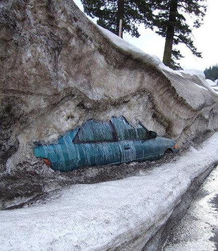 雪にうずもれた車01