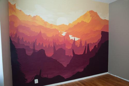 寝室の壁にペイント01