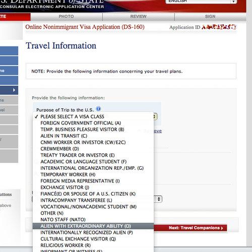 アメリカでビザを取得するカテゴリー01