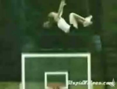 ぶん投げられた少女が宙返りしてバスケのゴールをすり抜ける映像