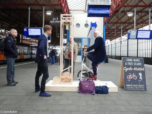 電車を待つ時間に編み物ができるサイクルマシーン01