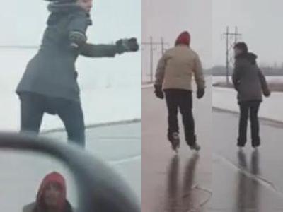 道路でアイススケート