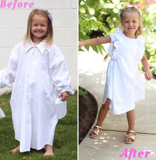 パパの古着を娘のドレスに変身02