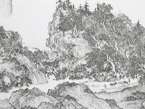 水墨画のような「釘」アート11