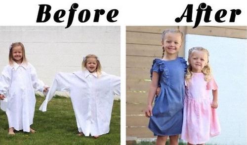パパの古着を娘のドレスに変身08