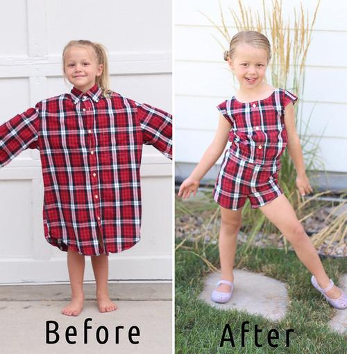 パパの古着を娘のドレスに変身03