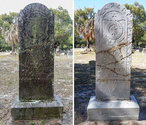 退役軍人の墓を磨く男性04