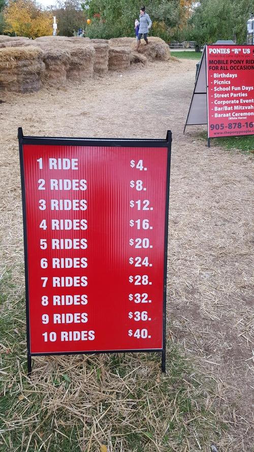 1回の乗馬は4ドル01