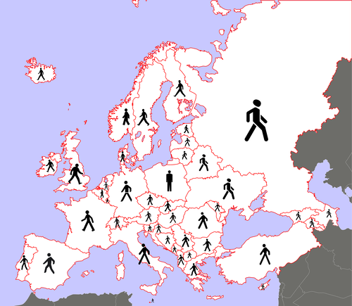 ヨーロッパの歩行者、国別01