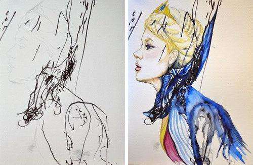 2歳の娘が描いた落書きを母親が水彩画に09