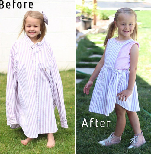 パパの古着を娘のドレスに変身07