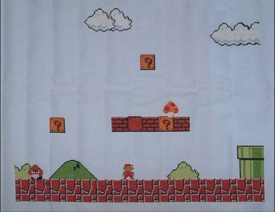 スーパーマリオの刺繍