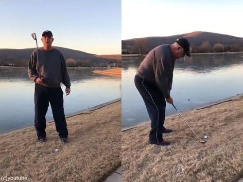 ゴルフボールを凍った湖に打ったときのサウンド00