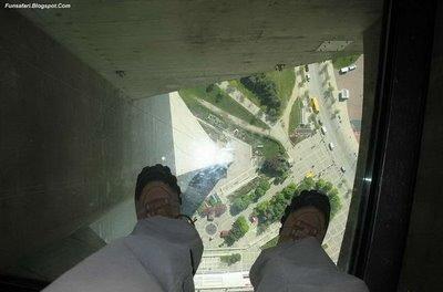 ガラス張りの高層ビルの下15