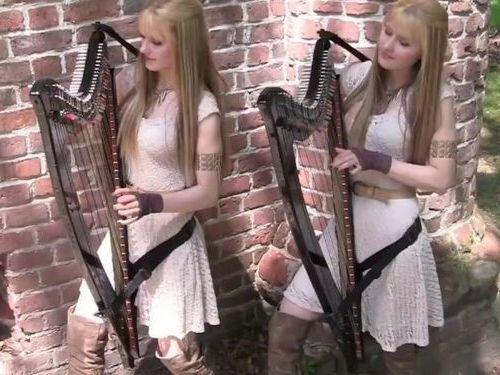 美人双子のハープ演奏