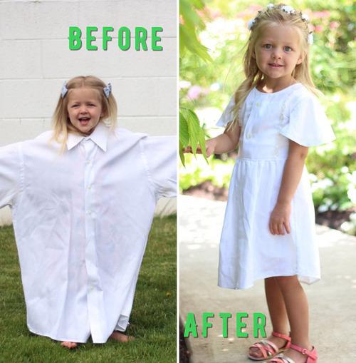 パパの古着を娘のドレスに変身06