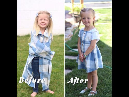 パパの古着を娘のドレスに変身00