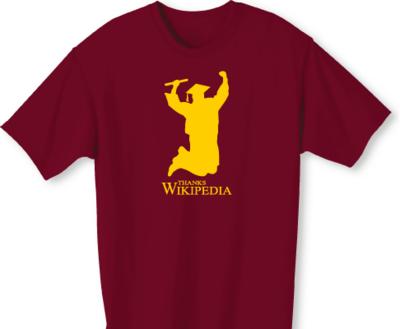 卒業向けのTシャツ「ウィキペディアありがとう」