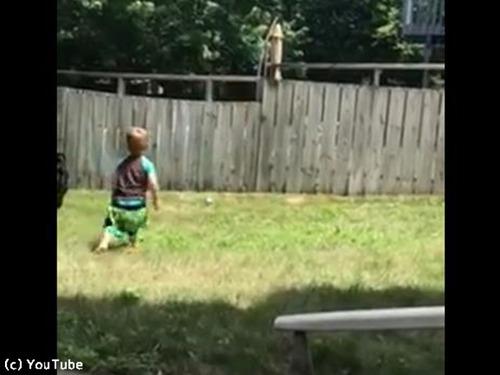 フェンス越しに遊ぶワンコと子ども00