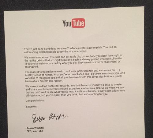 YouTubeでチャンネル登録者が10万人を超えると…01