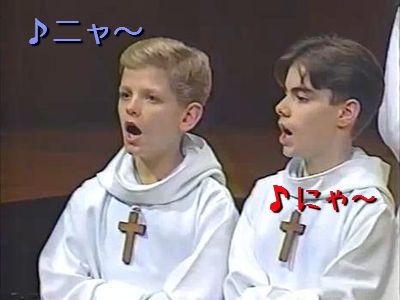 猫の鳴き声の少年コンサート合唱