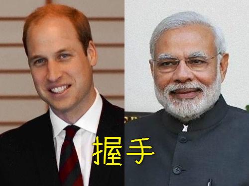 インド首相とイギリスのウィリアム王子が握手00