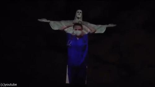 ブラジルのキリスト像が白衣姿に02
