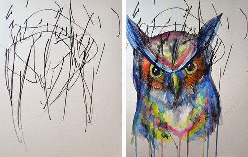 2歳の娘が描いた落書きを母親が水彩画に06
