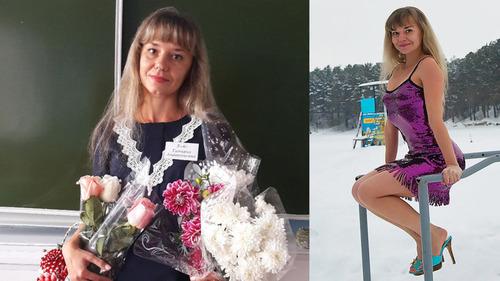 ロシアの女性教師が水着姿で解雇01