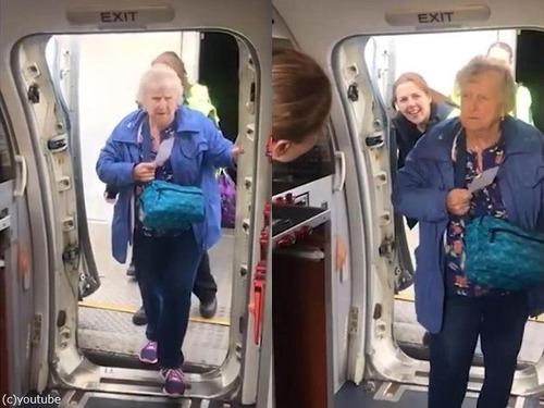 おばあちゃんが機長の顔を見て大感激00