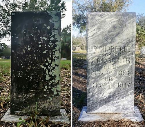 退役軍人の墓を磨く男性05