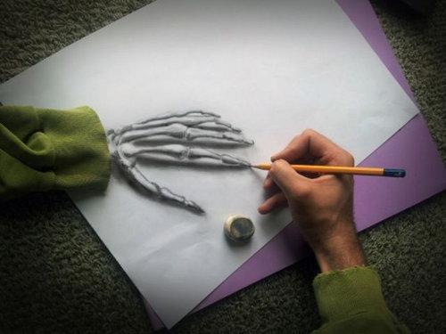 紙に描いた立体アート10