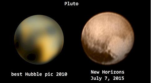 ニューホライズンとハッブル望遠鏡の冥王星01