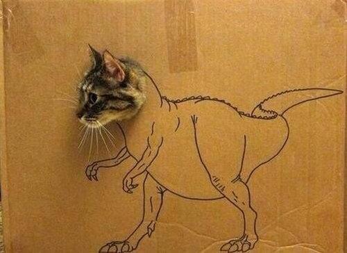 ダンボール猫アート02