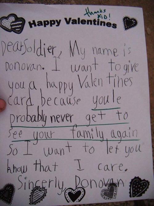 兵士が小学生からもらったバレンタインデーカード01