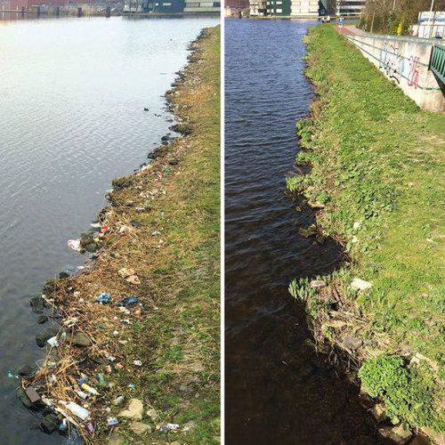 オランダの川辺をゴミ掃除17