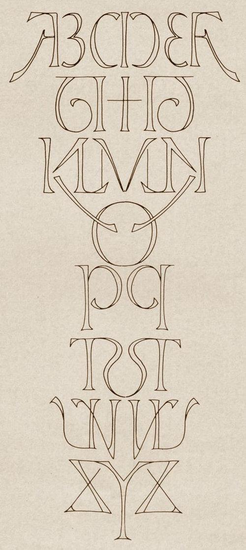 アルファベットを線対象01