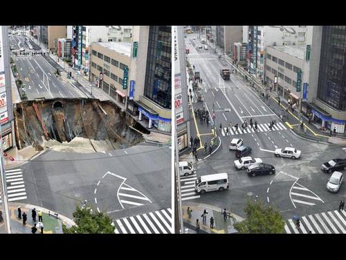 博多駅前の道路陥没・海外の反応00