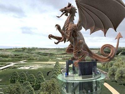 ウェールズのレッドドラゴン像00
