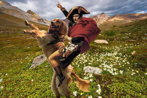 ピサの斜塔で犬の散歩05